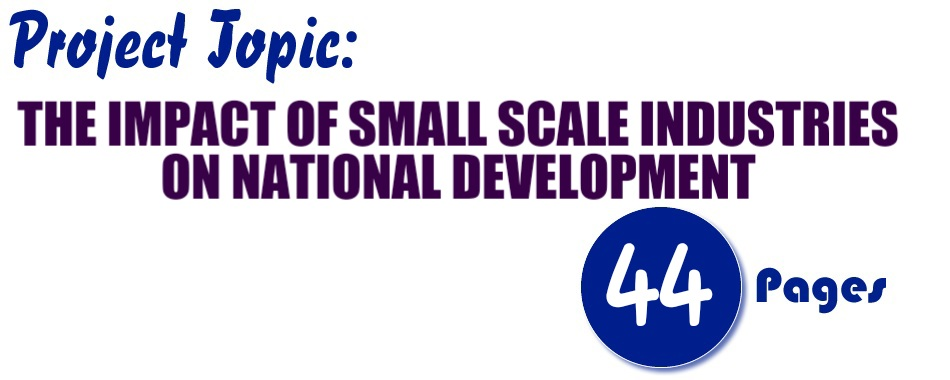 THE IMPACT OF SMALL SCALE INDUSTRIES ON NATIONAL DEVELOPMENT