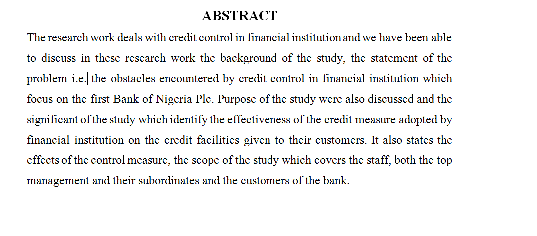 THE ROLE OF CREDIT CONTROL ON THE PROFITABILITY OF A FINANCIAL INSTITUTION