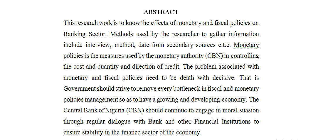 EFFECTS OF MONETARY AND FISCAL POLICIES ON BANKING SECTOR